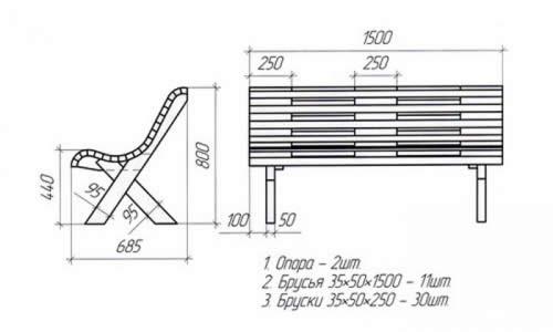 Чертеж деревянной скамейки