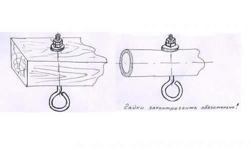 Схема монтажа анкерных крюков
