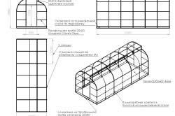 Схема поликарбонатной теплицы из оцинкованного профиля.