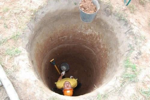 Работа в шахте колодца