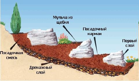 Схема распределения почвы в альпийской горке