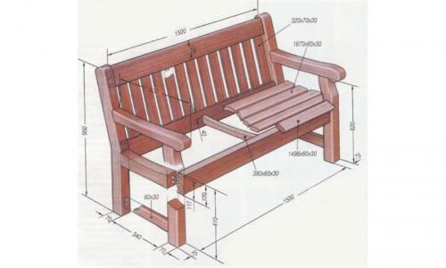 Размеры деталей деревянной скамейки
