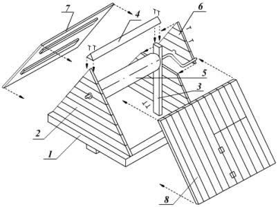 Схема устройства домика над колодцем: 1.основание-рама, 2. фронтоны, 3. стойка, 4. конек для крыши, 5. ворот, 6. обшивка фронтонов, 7. левый скат крыши, 8. правый скат крыши