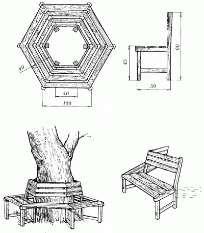 Скамейка вокруг дерева схемы