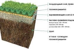Схема устройства газона с применением газонной решетки