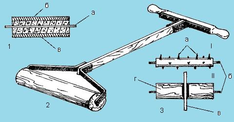 Приспособления для утрамбовки и прикатывания площадки: 1 – каток деревянный; 2 – каток из металлической или асбоцементной трубы (а – ось диаметром 12 мм;б – труба диаметром 150–200 мм; в – бетонное покрытие); 3 – сменные приспособления (I – дырокол; II – для нарезки дерна): а – шипы; б – оси диаметром 12 мм; в – циркулярная пила; г – деревянный барабан.