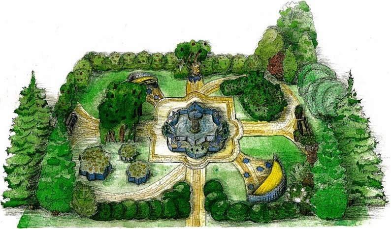 Сад в мусульманском стиле предполагает наличие строгих форм, фонтан посередине сада и разделение участка на 4 зоны.