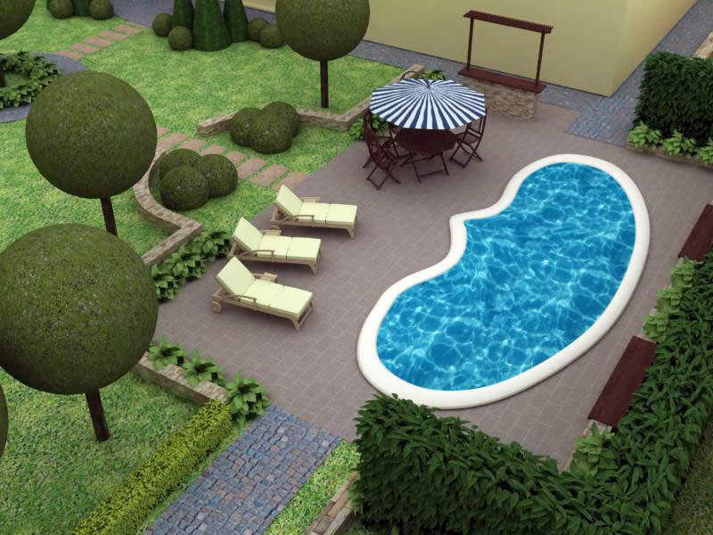 Эскиз участка с бассейном