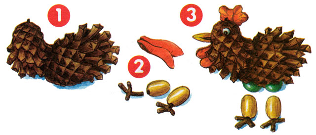 Как сделать петуха из природных материалов