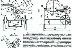 Чертеж ручной бетономешалки
