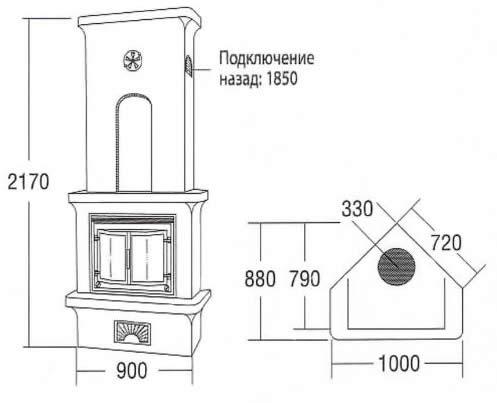 Схема топочной части печи