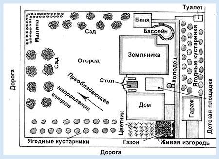 Планировка участка с садом и