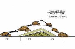 Схема альпийской горки из камней