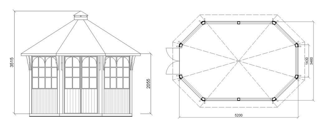 Схема беседки-павильона