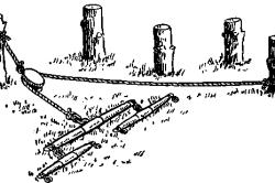 Схема корчевки пня тягой
