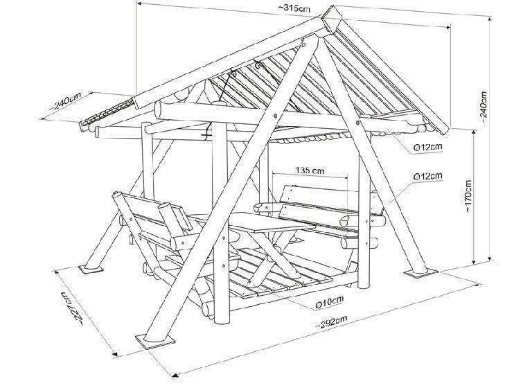 Схема садовых качелей