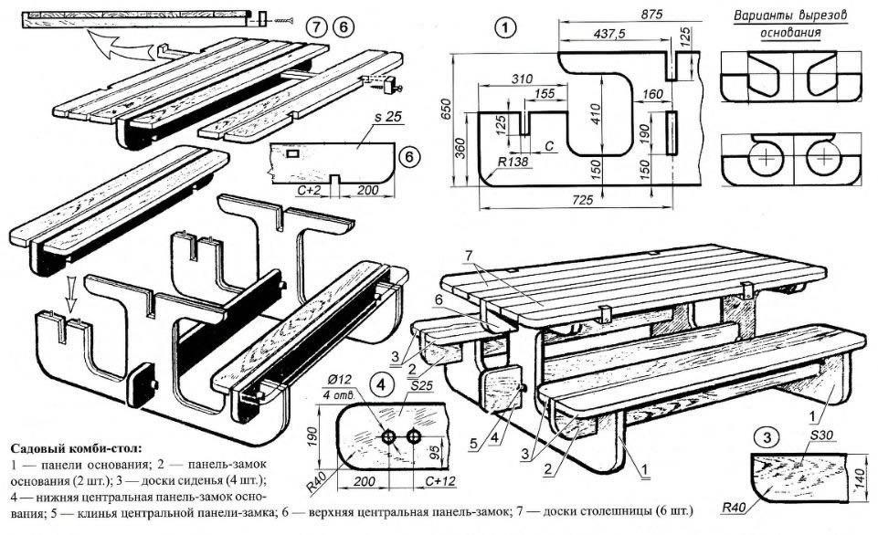 Схема сборки дачного стола
