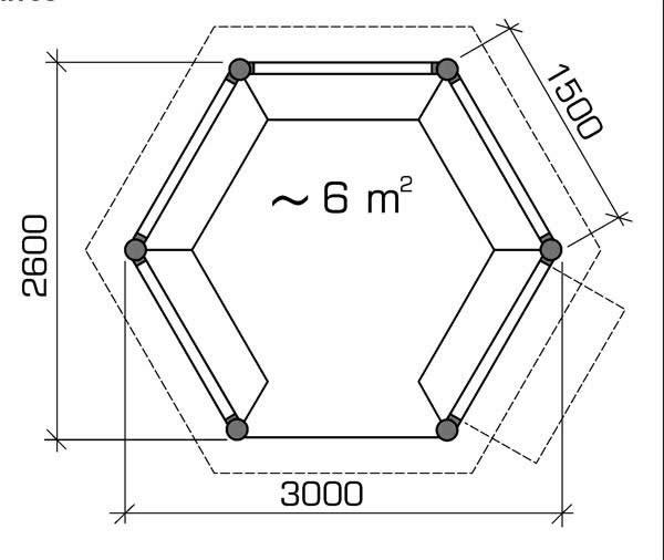 Схема шестиугольной беседки