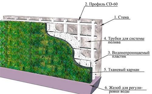 Схема вертикального озеленения