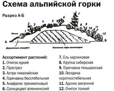 Схема альпийской горки