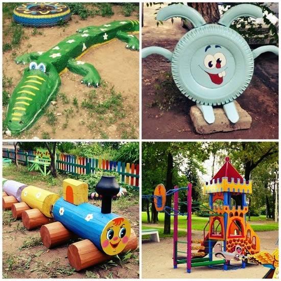 Детские площадки из подручных средств своими руками