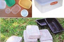 Для изготовления плитки можео использовать обычные пластиковые котейнеры для хранения