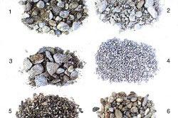 Виды гравия: 1 — галька, 2 — щебень, 3 — гранитный щебень, 4 — гравий, 5 — мелкий галечник, 6 — крупный галечник