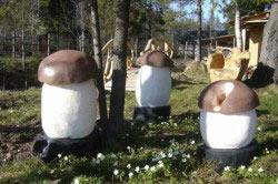 Декоративные грибы из цемента