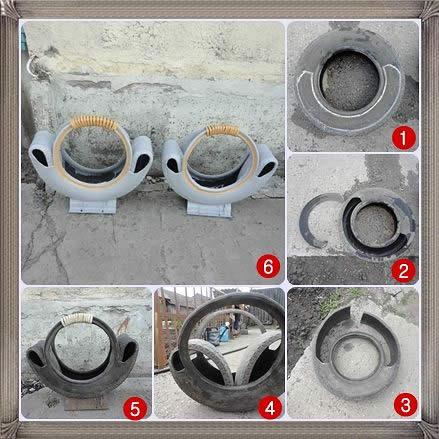 Этапы изготовления вазона в виде корзины из покрышки.