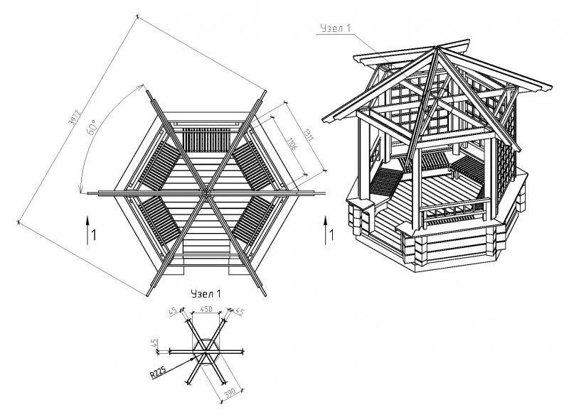 Шестиугольная беседка своими руками чертежи и размеры схемы