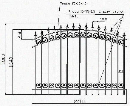 Схема металлической ограды