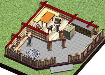 Беседка с мангалом общей площадью 44,5 кв.м (план)