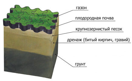 Устройство слоев газона