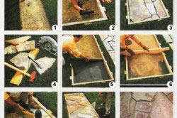 Процесс укладки дорожки из плитняка