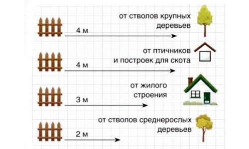 Разрешенные расстояния от построек и зеленых насаждений