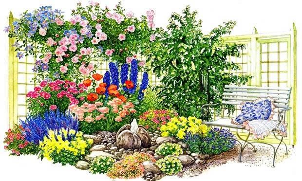 Схема создания романтического сада