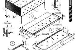 Схема устройство разборного мангала: 1-боковая стенка (2 шт); 2-торцевая стенка (2 шт); 3-днище (2 шт); 4-ножка (4 шт); 5-гайка М5 (4 шт).