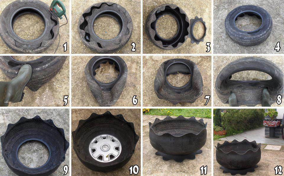 Поделки из старых шин пошаговая инструкция