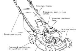 Схема устройства газонокосилки