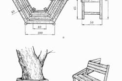 Круговая скамейка под деревом: а – схема изготовления; б – общий вид.