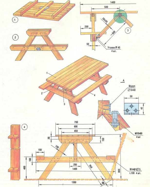 Чертежи садовой мебели