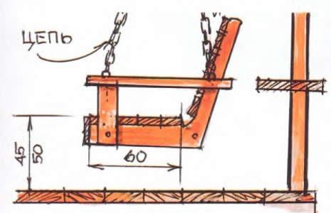 Схема металлических садовых качелей