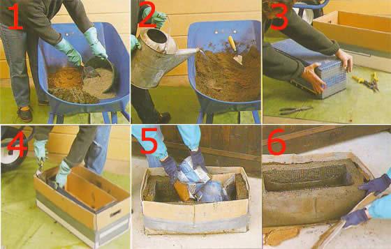 Этапы изготовления вазона из бетона.