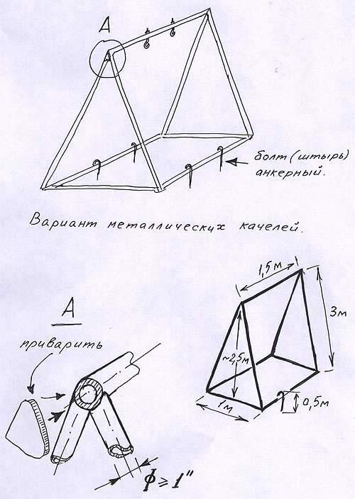 Схема металлических качелей.