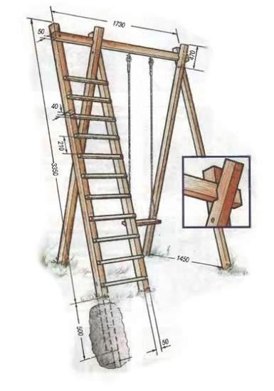 Схема основных размеров деревянных качелей.
