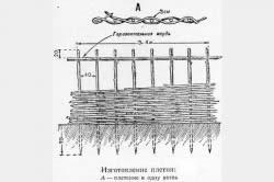 Пример плетения забора в одну ветвь
