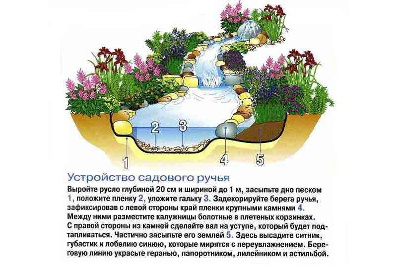 Схема устройства садового ручья