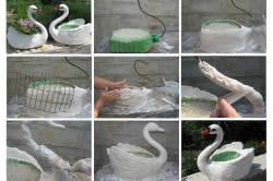 Лебедь-кашпо из гипса: последовательность этапов работы.