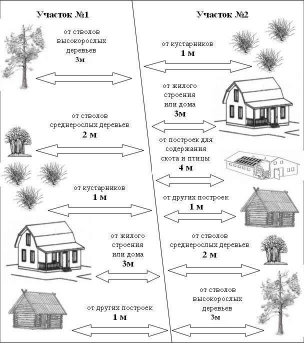 Схема расстояний строений и насаждений до границ соседнего участка.