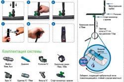 Схема сборки капельниц для системы полива